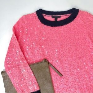 J. CREW Scattered Sequin Fuzzy Sweater Coral Pink